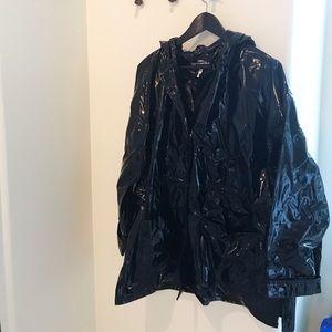 Patent glossy long black rain coat